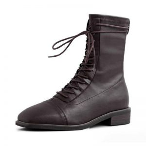Taoffen Sexy Square Toe Ankle Boots For Women Real Leather Women Shoes Casual Office Ladies Flats Platform Footwear Size 34-39