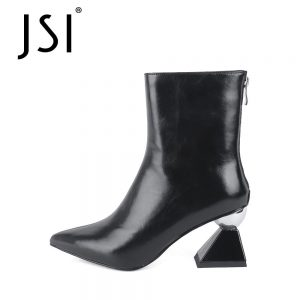 JSI Mid-calf Winter Boots Woman Genuine Leather Solid Pointed Toe Boots Ladies Strange High Heel Female Mid-calf Boots JC773