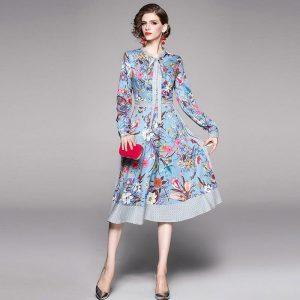 2020 Spring Runway Designer Elegant casual Dress Women's bow neck long Sleeve Floral Printed Dress Dot print vestidos