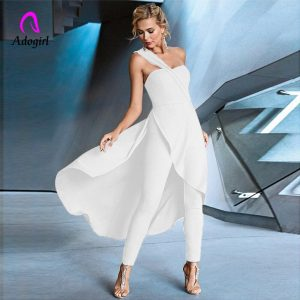 Work Women Jumpsuits Women Sexy One Shoulder Overalls Soild Long Pants 2020 Women Evening Party Rompers Office Lady Jumpsuit