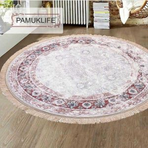 Pamuklife Artificial Leather Based Non Slip Base Carpet Crystal Red Modern Super Soft Carpet Washable Daily Fashion Style