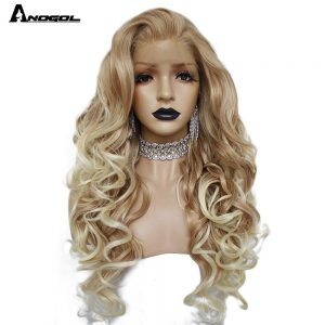 """Anogol Long Deep Wave Gold Blonde Ombre Synthetic Lace Front Wigs Free Part High Temperature Fiber 24""""Hair Wig For Women"""