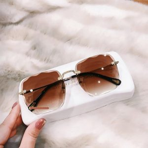 2020 New Rimless Square Oversized Sunglasses Women Vintage Luxury Brand Designer Diamond Cutting Lens Gradient Sun Glasses