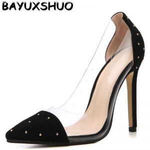 BAYUXSHUO Roman Style Ladies High Heels Fashion PU Shoes Pumps Rhinestone Women Shoes Pumps Pointed Stiletto Heels Party Shoes