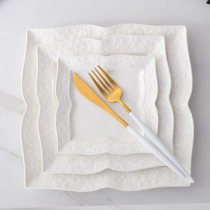 3pcs set, 6+8+10inch, plain white embossed porcelain kitchen plates sets, ceramic square servies borden, wedding buffet dishes