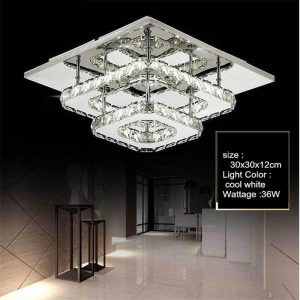LED Square Crystal Ceiling Lamp Modern Indoor Lighting Aisle Corridor LED Ceiling Light Surface Mounted Fixture Home Decoration
