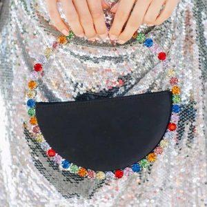 Women INS  Diamond Circular Evening Bag Women Round Handle Rhinestone Dinner Clutch Purse Ladies Half Moon Handbag Purse