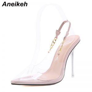 Aneikeh NEW Spring Fashion PVC Women's Pumps 2020 Sexy Chain Thin Heels Pointed Toe Slingbacks Ladies Shoes Botines Mujer 35-41
