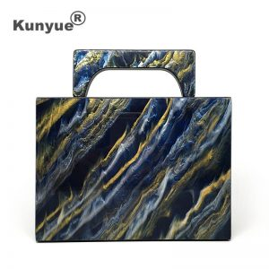 Brand Fashion Deep Blue Gold Sequin Acrylic Evening Bag BlingBling Women Clutch Purse With Handle Luxury Chic Party Prom Handbag
