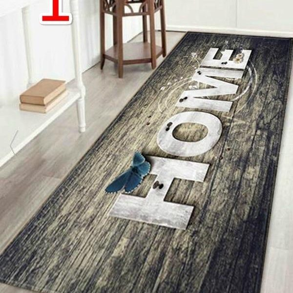 """WUJIE Fashion """"Home"""" Printed Wood Pattern Floor Rug for Living Room Washable Bedroom Mat Home Decor Kitchen Carpet Welcome Mat"""