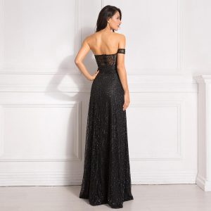 Off Shoulder sparkle Bling Bling Glitters Floor Length Split Party Dress Full Lining Padded Backless Long Black Dress