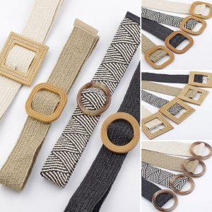 Wax Rope Braiding Women Belt Round Square Buckle Skirt Belt Vintage Knitted Waist Belt Hand-Woven Elastic Belt For Women 2019