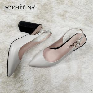 SOPHITINA Summer New Women Sandals Pointed Toe Square Heel Super High Ankle-Wrap Shoes Sheepskin Metal Decoration Sandals C679