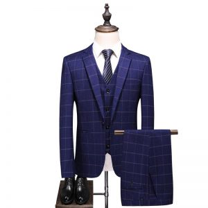 Men's suit fashion blue check single button men's suit three-piece suit (jacket + pants + vest) men's business casual suit