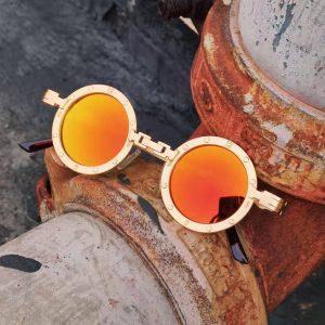 Vintage Steampunk Sunglasses Men Fashion Round Metal Punk Gothic Sun Glasses 2020 New Orange Red Mirror Circle Shades for Women