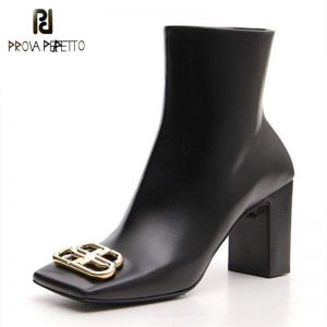 Prova Perfetto 2019 European and American Style Cowhide Material Metal Decorative Booties Square Head Zip Closure Fashion Boots