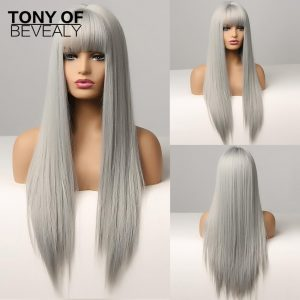 Long Silky Straight Synthetic Hair Wigs Silver Gray Natural Wigs With Bangs for Women Cosplay Heat Resistant Fiber Wigs