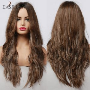 EASIHAIR Long Brown mixed Grey Hair Synthetic Wigs for Women Wavy Cosplay Wigs Natural Hair Heat Resistant Cosplay Wigs