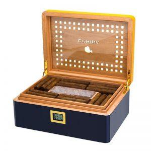Cohiba Yellow Piano Finish Cedar Wood High-end Cigar Cigarette Humidor Box Set Accessory Big Capacity 80 Cigars Tobacco Storage