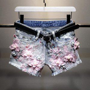 Women Jeans Skirt Shorts Feminino Denim Flowers Print Leg-openings Plus Size Pearls Rivet Zipper Shorts With Pockets 2020 New