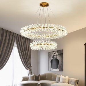 Lighting-joy Flower Crystal Chandelier Luxury Ring Chandelier Home Decoration 40 60 80cm Rings Hanging Lamp for Living Room