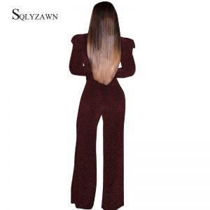 Women V Neck Long Sleeve Palazzo Jumpsuit Vintage Glitter Wide Leg Pants Romper with Belt Sexy Elegant Red Overalls Plus Size