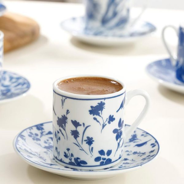 12 Pieces Turkish Coffee Cups Espresso Porcelain Demitasse Cup Saucer Modern Greek Arabic Gift Set Coffee Accessories Pod