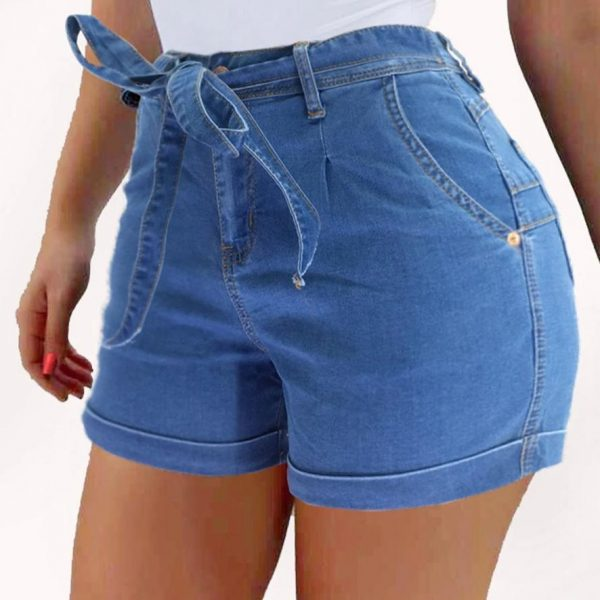 Liooil Ladies Short Jeans 2021 Cotton Blue Jean Shorts High Waist Women Summer Lace-Up Pockets Sexy Denim Woman Shorts