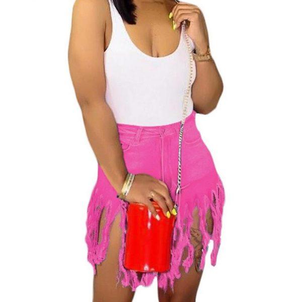 Liooil Neon Tassel Jeans Shorts Women 2021 Summer Elastic High Waist Cotton Jean Short Plus Size Sexy Denim Shorts Sexy Club