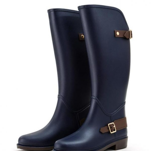 Women Flat Heels Knee-high Rain Boots Non Slip Tall Buckle Rainboots Waterproof Water Shoes Woman Wellies