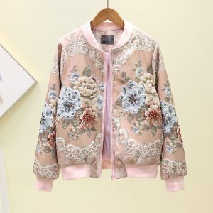 2020 New Women Jackets Jacquard Heavy Industry Beads Jacket Zipper Pockets Casual Long Sleeves Female Basic Coat High Quality