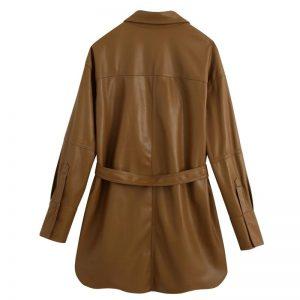 Hadara Brown PU Leather Blouses Women Fashion Tie Belt Waist Shirts Women Elegant Pockets Long Sleeve Tops Female Ladies HAE