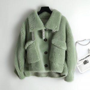 Women 2020 Autumn Winter Faux fur Composite Lamb Fur Coat Warm Jacket Female Natural Sheep Shearing Motorcycle Outewear T112