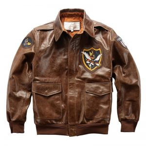 A-119 AVFLY Read Description! Asian size Air Force Flight A2 Pilot Cow Leather Coat Genuine Cowhide Flying Tiger Jacket
