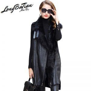 Sheepskin Genuine Long Leather Vest Jacket Real Coat Women Sheep Fur Lining Jackets Winter Warm Coats Female ZQY9091