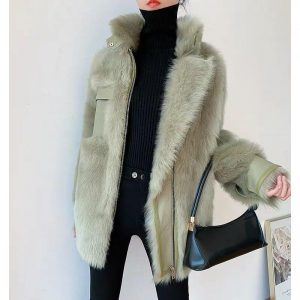 2020 Women Spring Winter Mid-length Sheep Shearing Outcoat Female Double-faced Fur Wool Coats Ladies Thick Warm Fur Coat Y85
