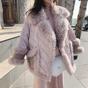 Elegant Pink Fur Collar Winter Jacket Women 2020 woolen lambswool Thicken Parkas Warm Down Cotton Winter Coat Long Parka MY42