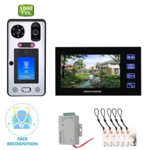 Mountainone Handfree Video Doorphone Intercoms Kit 7 inch monitor Face Recognition Fingerprint 92° View angle Doorbell systems