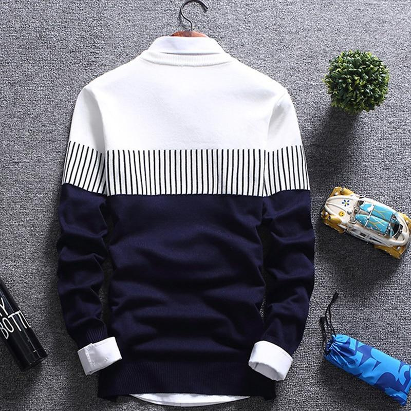 DIMUSI Autumn Winter Men Pull Sweater Casual Solid O-Neck Turtleneck Shirt Sweaters Men Slim Fit Wool Knitted Pullovers Clothing