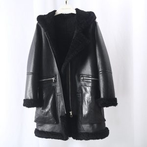 OFTBUY New 2020 Winter Jacket Women Real Merino Sheep Fur Coat Double Face Fur Black Genuine Leather Outerwear Thick Warm Pocket