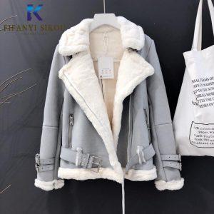 2020 Winter Women Suede Jacket Thick Warm Faux Lamb Wool Jackets Coat Fashion Loose Motorcycle Leather Jacket Female Streetwear
