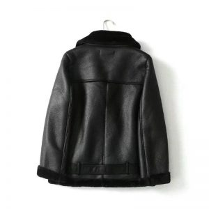 Winter black PU faux leather jacket womens leather jacket with fur collar thick warm moto biker jacket women coat vintage