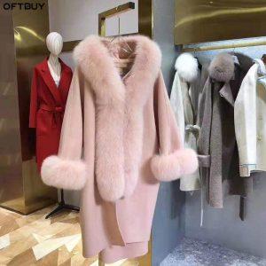 OFTBUY 2020 Winter Jacket Women Natural Fox Fur Collar Cashmere Wool Blends Outerwear Real Fur Coat Streetwear Thick Warm New