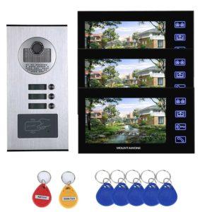 7inch Video Intercom 3 Apartments System with   RFID IR-CUT HD 1000TVL Camera Doorbell Camera