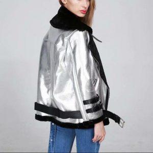 Bomber Jacket Faux Fur Coat Women Winter Wear Thicken Faux Leather Fur Female Coat Fur Lining Leather Jacket Aviator Jacket