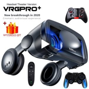 3D VR Headset Smart Virtual Reality Glasses Helmet for Smartphones Phone Lenses with Controllers Headphones 7 Inches Binoculars
