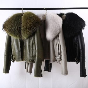 OFTBUY 2020 Real Fur Coat Winter Jacket Women Natural Raccoon Fur Collar Double Faced Fur Genuine Leather Merino Sheep Outwear