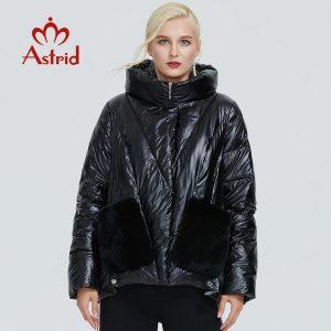 2019 Astrid winter jacket women black glossy fashion coat plush stitching large pocket design warm black women parka AR-9231
