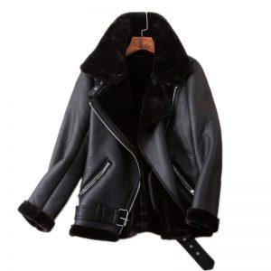 Ailegogo Winter Coats Women Thickness Faux Leather Fur Sheepskin Female Fur Leather Jacket Aviator Outwear Casaco Feminino