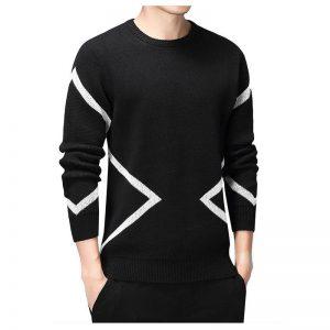 Black Mens Sweaters Long Sleeve Pullovers Homme 2019 Autumn O-neck Sweater Dress For Men Warm Brand Kinttwear Plus Size 3XL